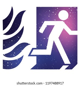 An Illustrated Icon Isolated on a Background - Fire Exit