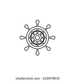 An Illustrated Icon Isolated on a Background - Ship Wheel