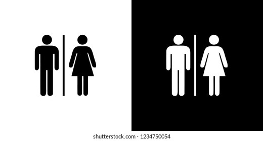 An Illustrated Icon Isolated on a Background - Male and Female