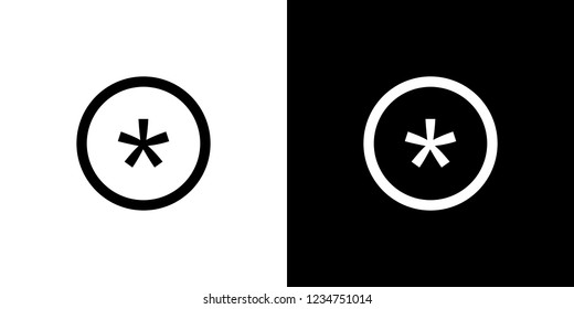 An Illustrated Icon Isolated on a Background - Circle Asterisk Outline