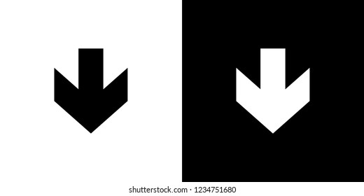 An Illustrated Icon Isolated on a Background - Arrow Down