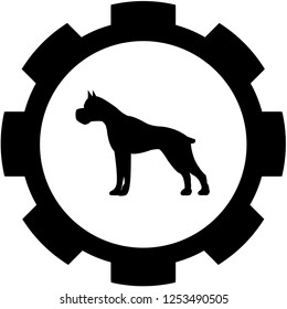 An Illustrated Icon Isolated on a Background - Pitbull Guard Dog
