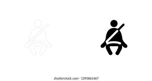Icône Illustrée Isolée sur Fond - Feu de ceinture de sécurité 23