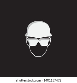 An Illustrated Icon Isolated on a Background - Safety Glasses and Helmet