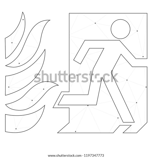 An Illustrated Icon Isolated on a Background - Fire Exit with Fire