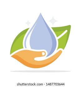 Illustrated icons with the concept of healthy clean water management