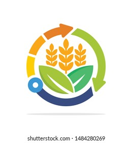 Illustrated icons with smart technology concepts for the development of agricultural business