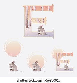 Illustrated letter e in a Christmas winter theme with a cute rabbit among birch trees and snow