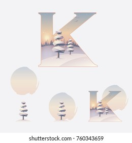 Illustrated letter k in winter Christmas theme with snowy pine trees and landscape on a sunset