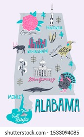 Illustrated map of  Alabama state, USA. Travel and attractions
