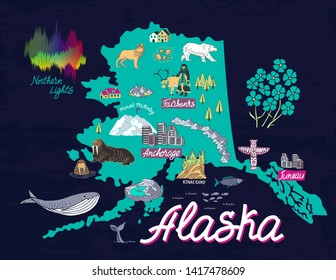 Illustrated map of Alaska, USA. Travel and attractions