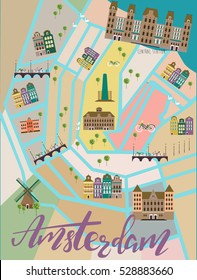 Illustrated map of Amsterdam. Travel map. Vector illustration