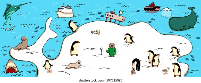 Illustrated Map of Antartica. With funny and typical objects, people, activities, animals, plants, history etc. Illustration in eps10 vector, continent on separate layer.