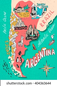 Illustrated map of Argentina. Travel. Cartography