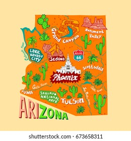 Illustrated map of Arizona, USA. Travel and attractions
