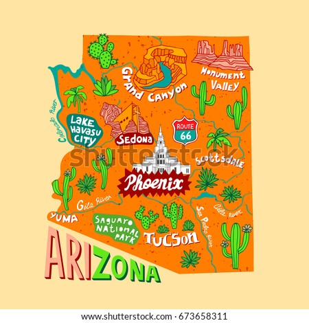 Illustrated Map Arizona USA Travel Attractions Stock Vector (Royalty ...