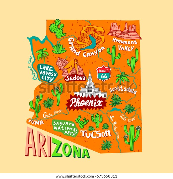 Illustrated Map Arizona Usa Travel Attractions Stock Vector ... on map of arizona colleges, map of arizona hospitals, map of arizona golf courses, map of arizona districts, map of wildlife zoo, map of shopping, map of grand canyon, map of casinos, map of weather, map of arizona arts, map of lodging, map of arizona regions, map of activities, map of home, map of arizona cities, map of arizona wineries, map of arizona state parks, map of maps, map of arizona camping, map of arizona breweries,
