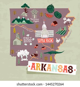 Illustrated map of  Arkansas, USA. Travel and attractions