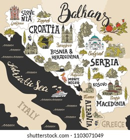 Illustrated map of Balkans. Travel and attractions