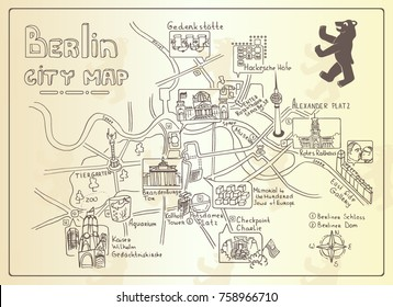 Illustrated map of Berlin, Germany. Doodle sketch map. Illustrations of attractions. Vector illustration with various symbols of Berlin. Travel and leisure. Design for banner, poster or print. Vintage