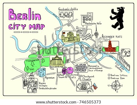 Berlin Germany World Map.Illustrated Map Berlin Germany Doodle Sketch Stock Vector Royalty