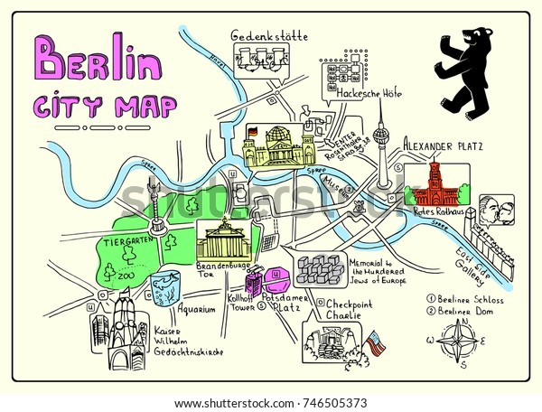 Berlin Map Of Germany.Illustrated Map Berlin Germany Doodle Sketch Stock Vector Royalty