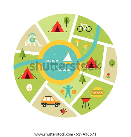 Illustrated Map Campsite Traveling Camping Outdoor Stock
