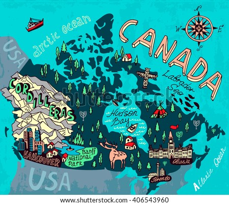 Travel Map Of Canada.Illustrated Map Canada Travel Cartography Stock Vector Royalty Free