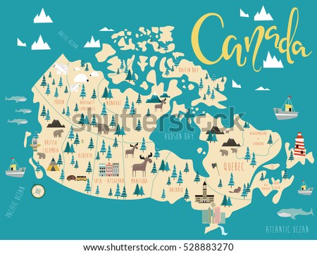 Travel Map Of Canada.Illustrated Map Canada Travel Map Vector Stock Vector Royalty Free