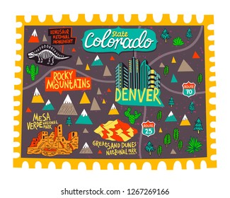 Illustrated map of  Colorado, USA. Travel and attractions.  Cartoon map