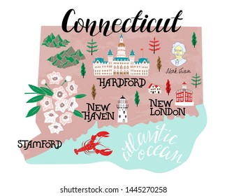 Illustrated map of  Connecticut, USA. Travel and attractions