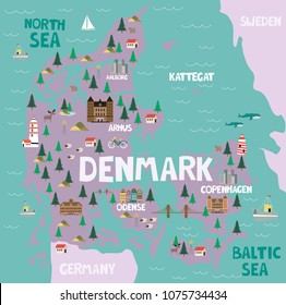 Illustrated map of Denmark with nature and landmarks. Editable vector illustration