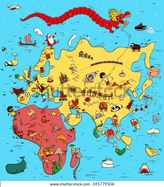 Illustrated Map Europe Asia Africa Funny Stock Vector ...