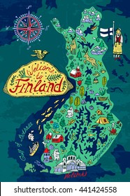 Illustrated map of Finland. Travels