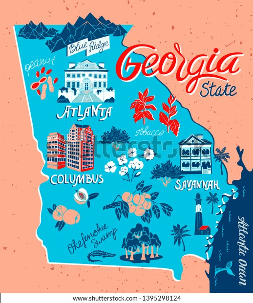 Illustrated Map Georgia Usa Travel Attractions Stock Vector ... on map of georgia and counties, map of georgia and south carolina beaches, map of georgia and its cities, map of georgia and regions, map of georgia and sites,