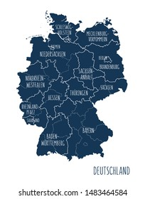 Illustrated map of Germany with labels. Isolated vector, hand drawn style. Blue color