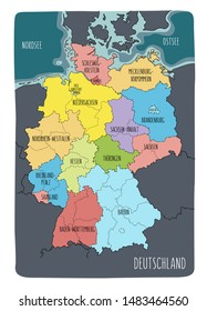 Illustrated map of Germany with labels. Vector, colorful hand drawn style.