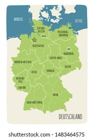 Illustrated map of Germany with labels. Vector, hand drawn style. Green color
