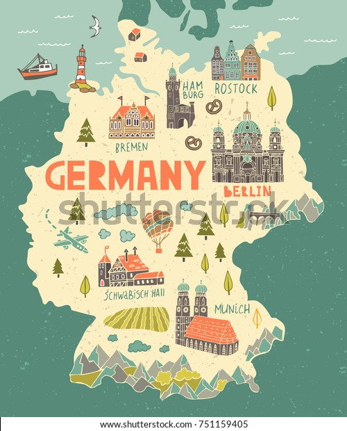 Illustrated Map Germany Travel Attractions Stock ...