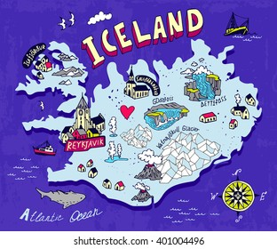 Illustrated map of Iceland. Travel. Cartography