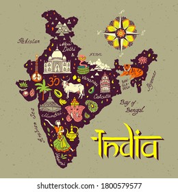 Illustrated map of India. Set of national symbols and elements of architecture and culture