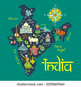 illustrated  Map of India. Travel and attractions.