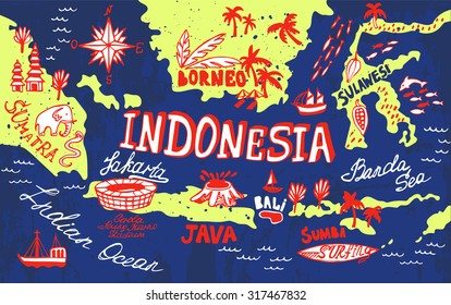 indonesia maps cartoon images stock photos vectors shutterstock https www shutterstock com image vector illustrated map indonesia 317467832