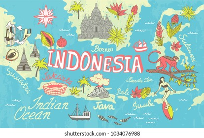 illustrated map of Indonesia. Travel and attractions
