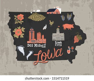 Illustrated map of  Iowa state, USA. Travel and attractions