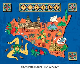 Illustrated map of the Italian island of Sicily. Travel and attractions