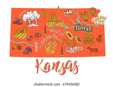 Illustrated map of Kansas, USA. Travel and attractions