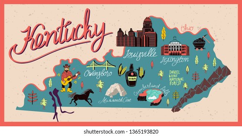 Illustrated map of  Kentucky state, USA. Travel and attractions.