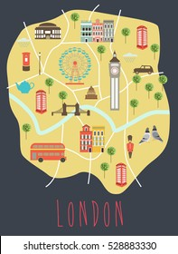 Illustrated map of London. Travel map. Vector illustration