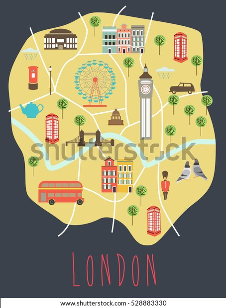 Travel Map London.Illustrated Map London Travel Map Vector Stock Vector Royalty Free